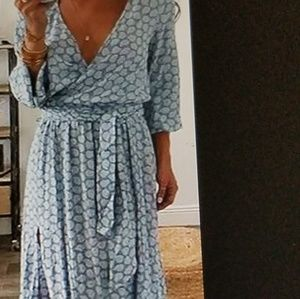 Full length lounging dress with slit front opening